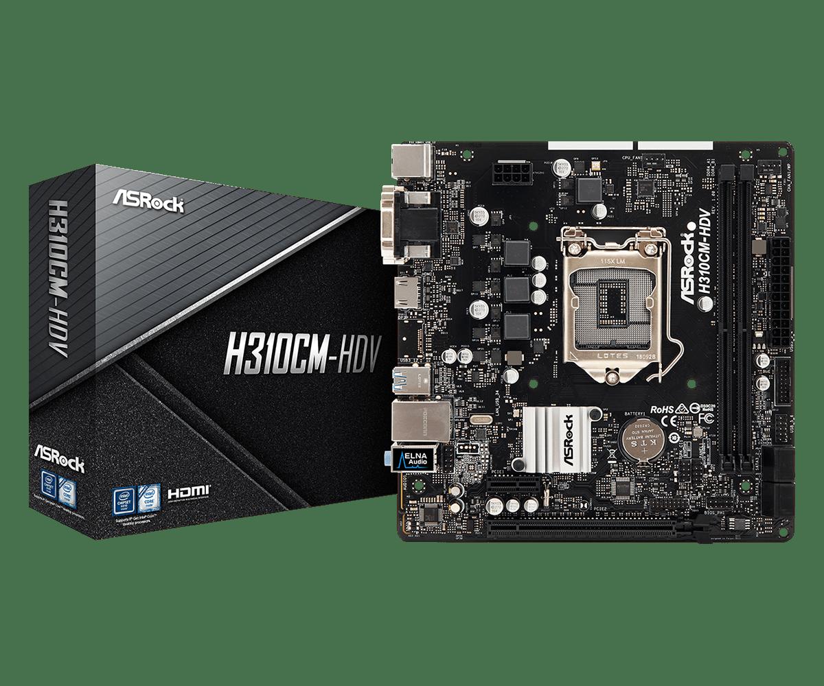 Mainboard ASROCK H310CM HDV (Intel H310, Socket 1151, m-ATX, 2 khe RAM DDR4)