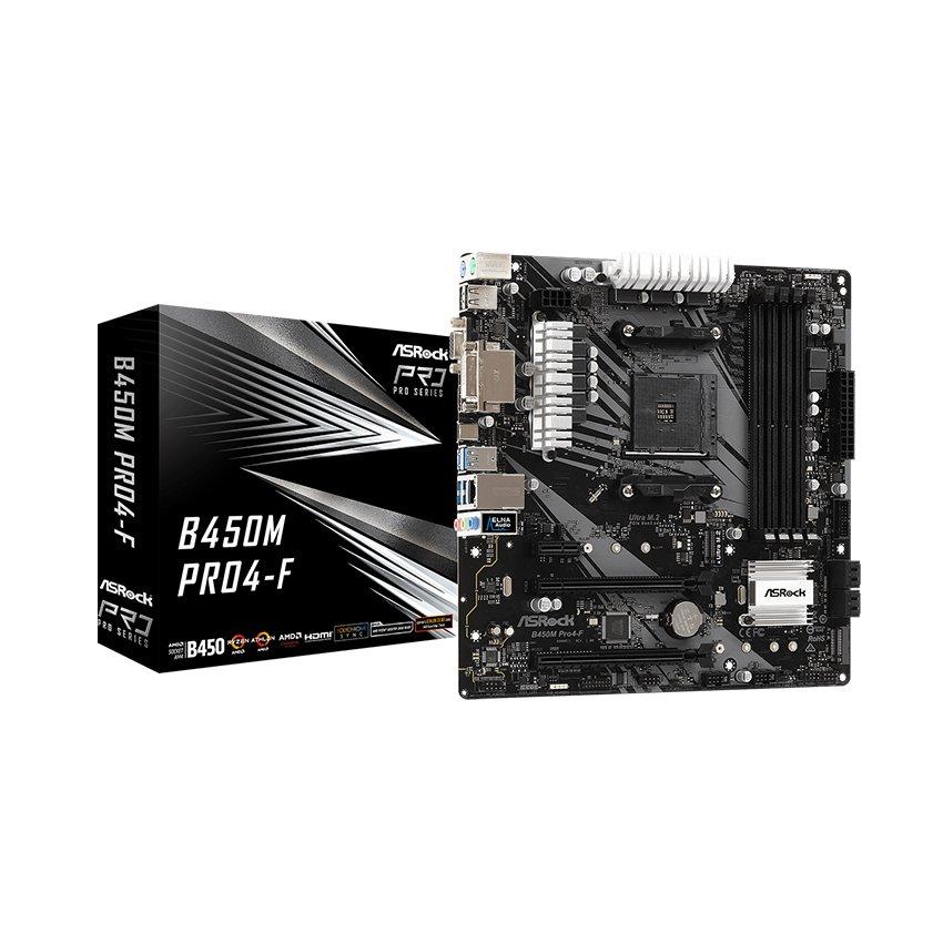 Mainboard ASROCK B450M PRO 4-F (AMD B450M, Socket AM4, m-ATX, 4 khe RAM DDR4)