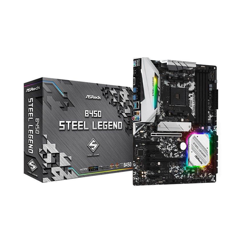 Mainboard ASROCK B450 STEEL LEGEND (AMD B450, Socket AM4, ATX, 4 khe RAM DDR4)