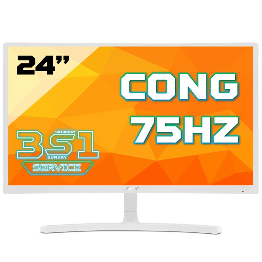 Màn hình ACER ED242QR (23.6 inch/FHD/75Hz/250 cd/m²/VGA+HDMI/LED/VA/màu trắng)