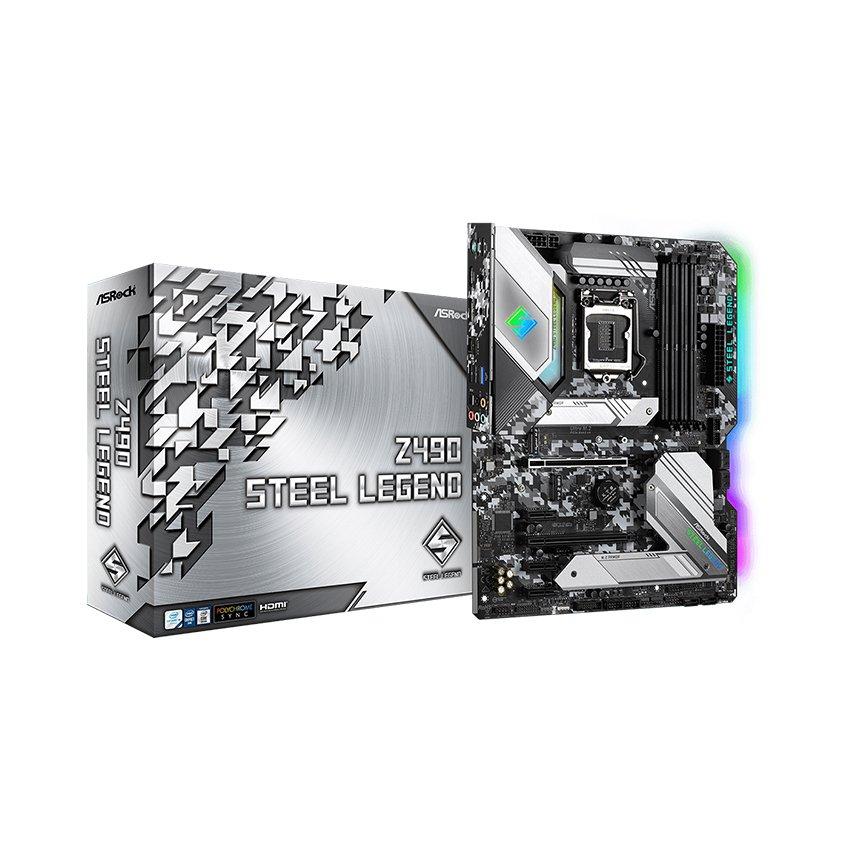 Mainboard ASROCK Z490 STEEL LEGEND (Intel Z490, Socket 1200, ATX, 4 khe Ram DDR4)