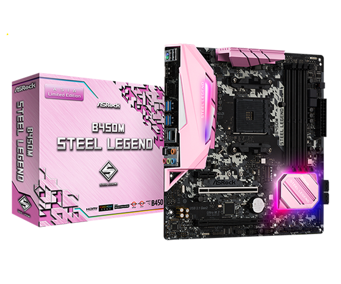 Mainboard ASROCK B450M STEEL LEGEND (Pink Edition)  (AMD B450, Socket AM4, ATX, 4 khe RAM DDR4)