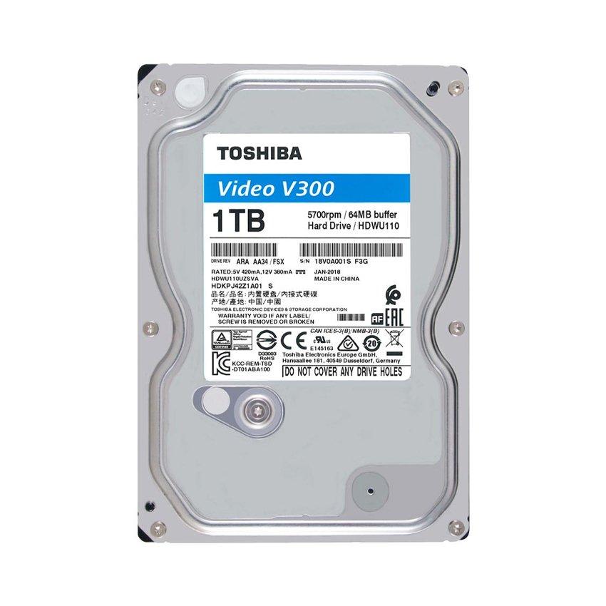 Ổ cứng Toshiba AV V300 1TB 3.5 inch,5700RPM, Sata 3 6Gb/s,64MB Cache (HDWU110UZSVA)
