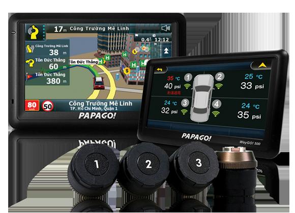 Dẫn đường kết hợp cảm biến áp suất lốp PAPAGO Waygo!500